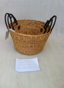 Water hyacinth basket with leather handle VNH0104
