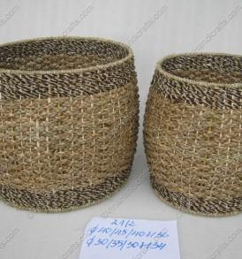 Giỏ cói xe đan kết hợp bèo VNH0010