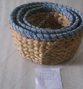 Rổ bèo đan quấn vải xanh VNH0036