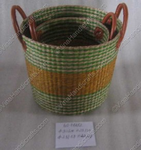 Seagrass basket with leather handle VNH0065