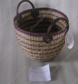 Seagrass basket with leather handle VNH0067