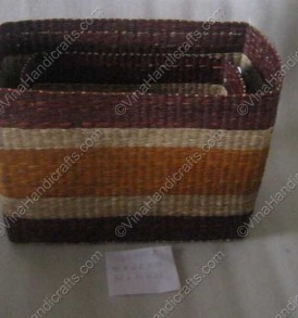 Seagrass box with leather handle VNH0073