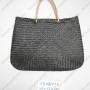 Túi đan cói dập màu đen VNH0094