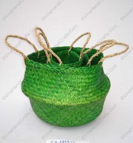 Giỏ đan cói dập màu xanh lá VNH0098