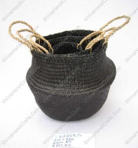 Giỏ đan cói dập màu đen VNH0099