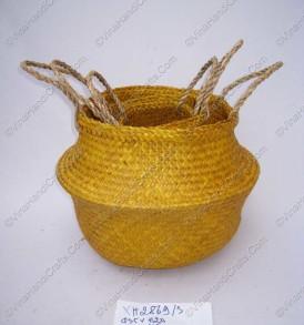 Giỏ đan cói dập màu vàng nghệ VNH0100