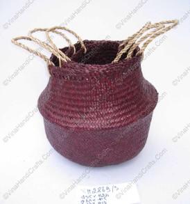 Giỏ đan cói dập màu đỏ mận VNH0101