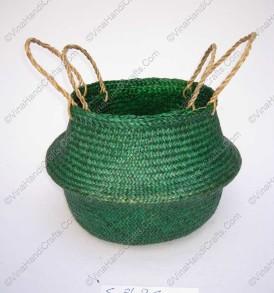 Giỏ đan cói dập màu xanh VNH0096