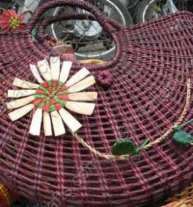 Túi cói đính hoa màu VNH0173