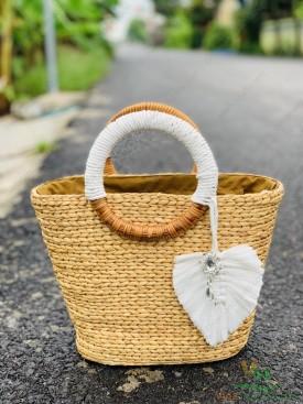 Túi lục bình , túi bèo họa tiết chiếc lá