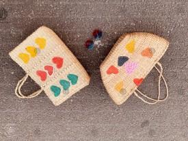 Túi cói in màu đính hạt VNH0451