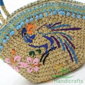 Túi cói - lục bình trang trí họa tiết VNH0441